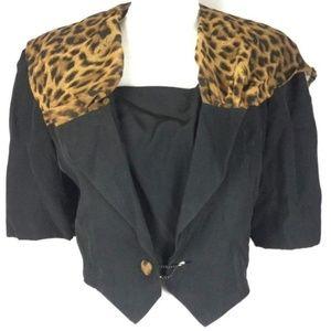Leopard Cape Scout Crop Jacket Vest Faux Insert